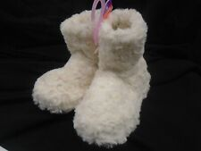 Girls Primark Soft Fluffy Slipper Boots Size 10-11 / 28/30 Cream BNWT