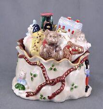 Fitz & Floyd Large Toy Bag Lidded Box Christmas Cookie Treat Jar 1987 Japan