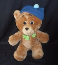 "15"" VINTAGE ANIMAL FAIR BABY BROWN TEDDY TED E BEAR STUFFED PLUSH TOY BLUE HAT"
