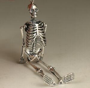 S925 Silver Hand Carved Skull Statue Pendant Netsuke gift netsuke AAA