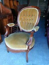 Victorian Round Walnut Upholstered Chair. Nice Fabric. Going Way Back