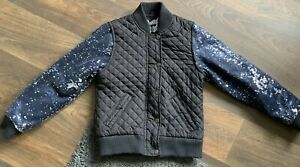 Young Dimensions Girls Navy Sequin Sleeved Quilted Jacket Age 9-10 Yrs USED