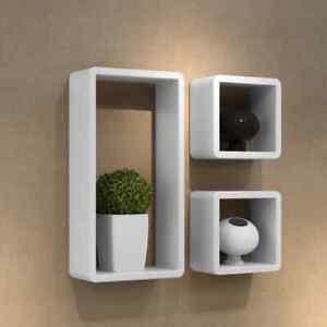 vidaXL 3x Cuboid Shelf Set Wooden Wall Floating Storage Display Shelves Stand