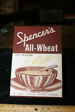 Spencer's All-Wheat Cereal Box - Unused Burns, Tennessee TN TENN