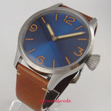 parnis 43mm blue dial sapphire crystal seagull hand winding 6497 men watch 1006