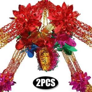 2x Large Multi Colour Christmas Foil Ceiling Garlands Decor Hanging Xmas B3P7
