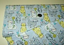Fabric Traditions quilt-craft fabric CURIOUS CATS gray 2 yds (14505) w- Metallic