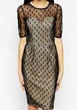 Sugarhill Boutique Spot On Dress 12 Body Con Black Nude Mesh Party Formal