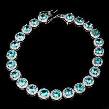 Sterling Silver 925 Genuine Natural Neon Blue Apatite Bracelet 71/2 Inch