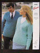 """Emu Knitting Pattern: Mens & Ladies Sweater, 36-47"""", 4426"""
