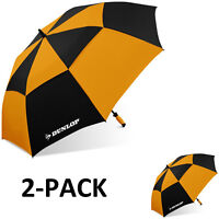 "Dunlop 60"" 2-PK Double Canopy Folding 2-Person Golf Umbrella Windproof Vented EC"