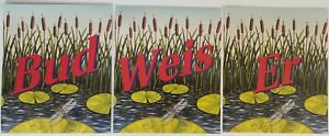 1995 Budweiser Advertising Poster Frog & Lily Pads Banner Sign 2 sided Vintage