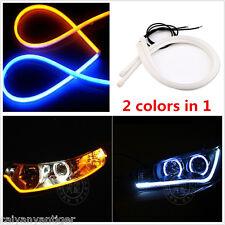 Amber+Blue 2x 60cm Switchback Headlight LED Strip DRL Daytime Light Soft Tube