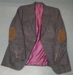 Remus Uomo Jeans Men's Fabulous Wool Blend Slim Check Jacket Size 44R (RRP £189)