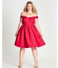Plus Size 24 Festive Formal Red Dress CHI CHI CURVE LONDON  Off Shoulder Asos