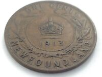 1913 Newfoundland Canada One 1 Cent Large Copper Penny Circulated Coin L044