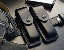 TWO LEATHER MAGAZINE POUCH FOR XD XDM GLOCK MOST DOUBLE STACK BLACK