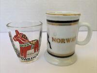 Vintage Europe Norway Sweden Shot Glass and mini mug Travel Souvenir set of 2