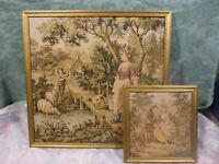 lot 2tableaux vintage style tapisserie ,scenes romantiques de campagne  t b état