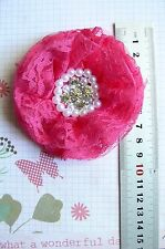 FRENCH TULLE LACE - FUCHSIA Frilly Flower EACH apprx 9cm across Njoyfull Crafts