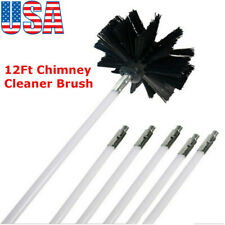 12Ft Chimney Brush+Rods Kit Cleaner Brush Rotary Sweep System Fireplace Kit Rod