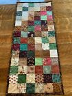Fall Green Brown Cranberry Red Beige Tan Flowers Quilted Table Runner Handmade