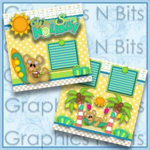 """WARM SUNNY HOLIDAY 12""""x12"""" Printed Premade Scrapbook Pages"""