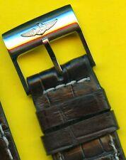 GENUINE BREITLING BUCKLE & 22mm BLACK GENUINE CROCODILE STRAP BAND NAVITIMER 806