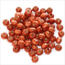 Lot de 100 perles rondes en Bois 6mm Rouge Orangé