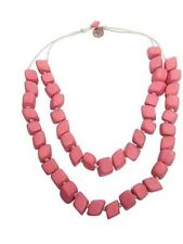 EB&IVE EB & IVE CANDY PINK DOUBLE STRAND NUGGET NECKLACE WOOD BOHO EB AND IVE