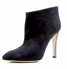 Sergio Rossi Women's Metallic Heel Black Suede Ankle Boots 90124 Size 39