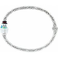 Brighton CHILLY Snowman Christmas Bangle Bracelet Add Your Own Charms NWT