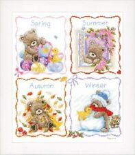 VERVACO POPCORN THE BEAR FOUR SEASONS SAMPLER COUNTED CROSS STITCH KIT NEW