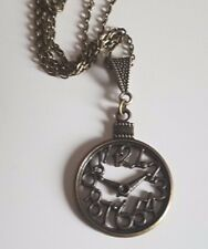 """Large Bronze Clock Pendant With Slider/Bail Bead Necklace 20"""" Chain + gift bag"""