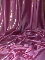 """Baby Pink Shiny Wet Look Shimmer Satin Fabric Bridal Dress Evening 58"""" Wide"""