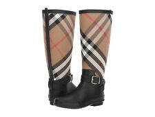 Burberry Rain Boots Black Rubber Check Print SIMEOM Flat Booties 36 Rainboots