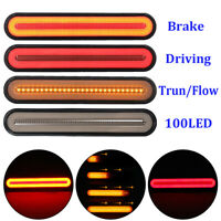 2x 100-LED Flowing Reverse Brake Turn Signal Rear Tail Light Car Truck Trailer