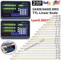 2/3 Axis Digital Readout DRO TTL Linear Glass Scale Encoder EDM Milling Lathe US