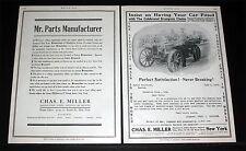 1906 OLD MAGAZINE PRINT AD, CHAS. MILLER, BRAMPTON TIRE CHAINS, CAR ON RAILS!