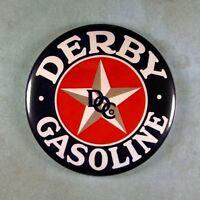 """Vintage Style Advertising Sign Fridge Magnet 2 1/4""""  Derby Gasoline Star"""