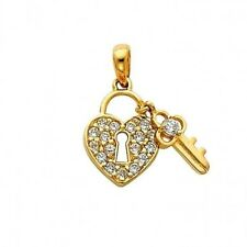 14K Solid Yellow Gold Heart Lock Key Round Cubic Zirconia Charm Small Pendant