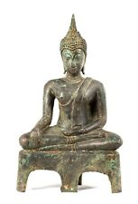 "Antique 19th Century Thai Bronze Sukhothai Enlightenment Buddha - 24cm/10"""