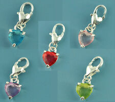 40 New Mixed SP Acrylic Clip On Heart Charm Fit Link Chain Bracelet 25x8mm