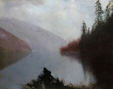 Öl-Gemälde alt antik Romantik Impressionismus Biedermeier See Landschaft ~1890