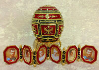 """Faberge egg Napoleonic egg Red with a portrait gift box (4.3""""). Made in Russia"""