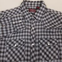 Outback Rider Mens Pearl Snap Western Shirt Size Large Plaid Blue Black