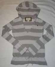 Abercrombie Gray & White Stripe V Neck Hoodie Sweater Tie Waist Girl's Size XL