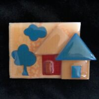 Vintage House Pins by Lucinda Pin / Brooch Home with Trees