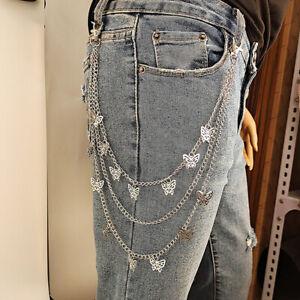 Multilayer Butterfly Pendant Belt Key Chain Hip-hop Waist Chain Pants JeansJ.BI