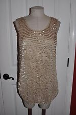 CHICO'S sz 3 (16/18) Gold Beige Knit Sleeveless Shell Top ~ Sequin Chain Maille